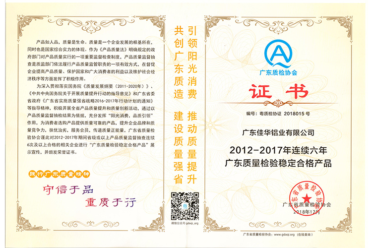 "Congratulation! JIA HUA WIN THE HONOR OF ""Stable quality products"" AGAIN"